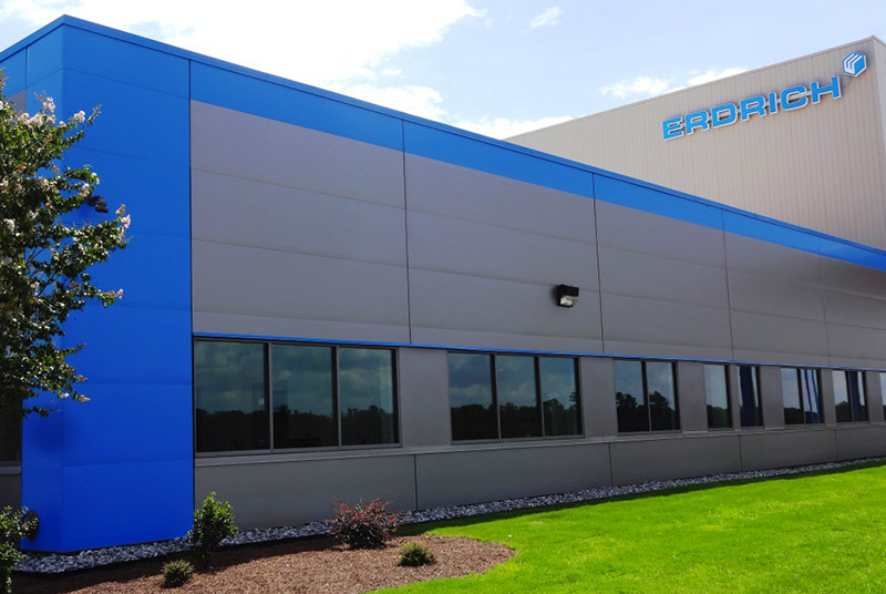 Green Span Profiles Horizontal Insulated Panels Blue and Grey Metal Building